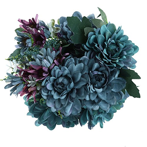 Soledi Artificial Silk Fake 10 Heads Flower Bunch Bouquet Floral Decor European Chrysanthemum (Blue Fake Flowers)