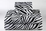 800-Thread-Count Animal Print - Zebra { Black & White } Color Naturally Cool Fabric ( 4PCs ) Sheet Set in King Size 100% Egyptian Cottonp With Perfect Mattress Pocket ( 11-Inches ) By KM Linen