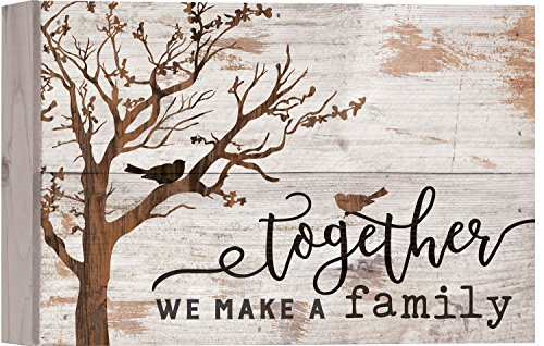 Family Sign - Together We Make A Family Tree White 10 x 7 Inch Solid Pine Wood Boxed Pallet Wall Plaque Sign