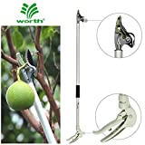 Worth Garden Long Reach Tree Pruner, 4ft Lightweight Cut and Hold Pruning Trimmer, Long Handled Pruning Shear-Tree Clippers with Flexible Hand Grip
