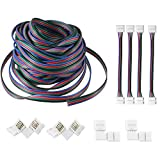 AREOUT 39.3ft 12m 4Pin Extension Wire Connector Cable for 3528 5050 RGB LED Strip connectors kit