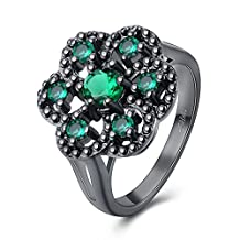 Black Flower Snowflake Promise Ring Fashion Party Accessories Halloween Christmas Gift For Women Girl