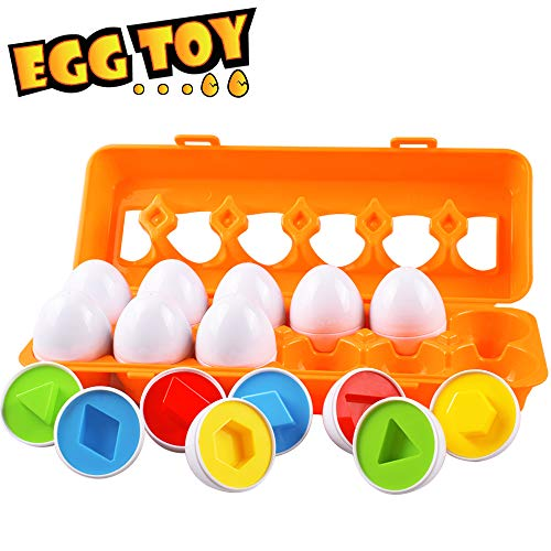 Toddler Eggs Toys, Color Matching Egg Set Easter Eggs Shapes and Colors Recognition Skills Learning Color & Shape Match Egg Set Educational Toddler Learning Toys for Kids Boy Girl 1 2 3 Year Old