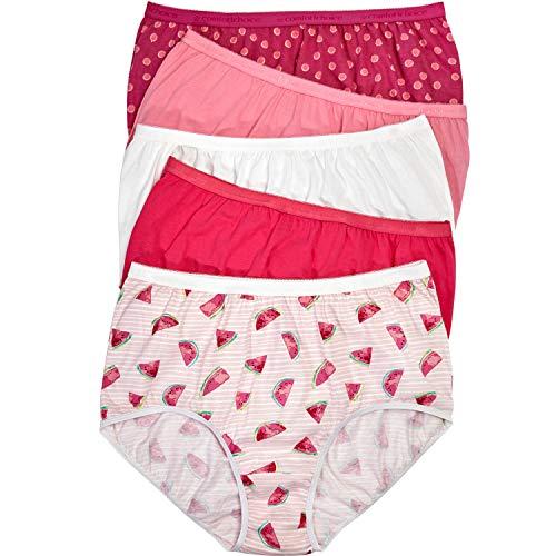 Comfort Choice Women's Plus Size 10-Pack Pure Cotton Full-Cut Brief - Citrus Dot Pack, 9