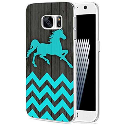 S7 Case Horse/ IWONE Samsung Galaxy S7 Case Tpu Skin Cover Protective Rubber Silicone + Horse Blue Chevron Animal Sales