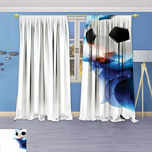 Philiphome Darkening Grommet Unlined Window Curtains,Soccer Ball Surrounded by Art Graphic Design Petals Football Game Theme Dark Blue Floral Pattern, Set of Two Panels