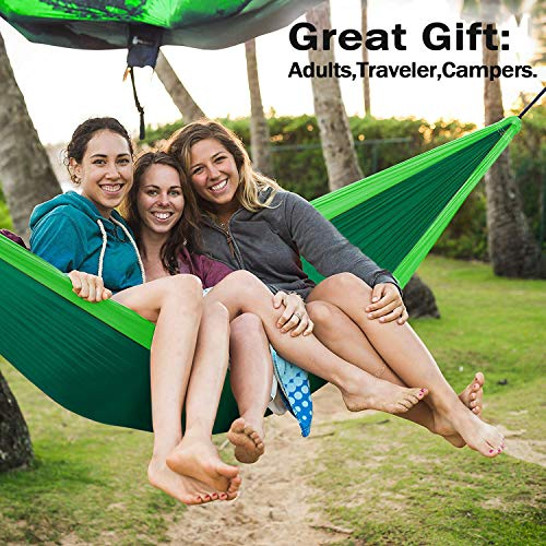 Uplift Double Camping Hammock,Portable Lightweight Heavy Duty Parachute Nylon Hammocks for Yard Backpacking Travel Beach Patio,with Two 9.8 ft Straps, Support 600 lbs Capacity