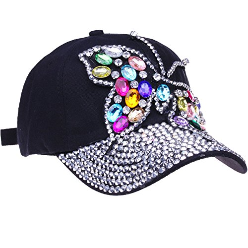 CRUOXIBB Black Baseball Cap Women Bling Butterfly Hat Rhinestone Snapback Caps Hat (Blue 1)