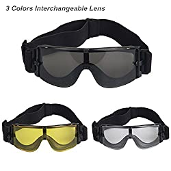 X800 Military Tactical Goggles Protective Safety Glasses Army Wind Proof Anti-Fogging Anti-Scratch UV-400 Eye Protection Helmet Goggles with 3 Colors Interchangeable Lens for Motorcycle Cycling Airsof