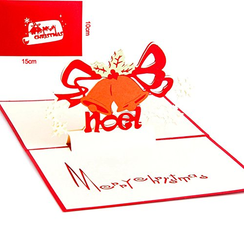 Christmas Greeting Card - Christmas Gift Bell 3D laser cut pop up paper Holiday handmade postcards custom Xmas greeting cards - 3D Christmas Cards - Christmas Card for Kids