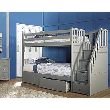 Amazon Com Ne Kids Barrett Stair Bunk Bed With Storage