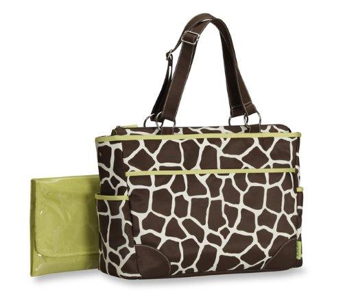 Carter's 2pc Green Trim Giraffe Tote Diaper Bag