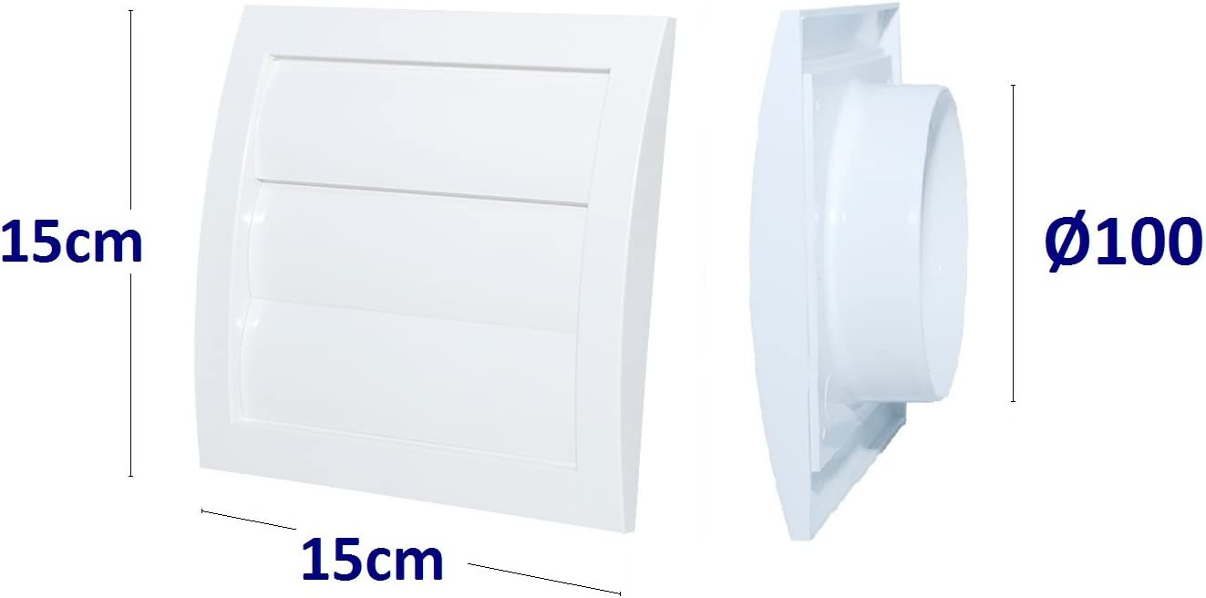 Blanco Rejilla de ventilaci/ón con l/áminas m/óviles tipo persianaPl/ástico acrionitrilo butadieno estireno VCD
