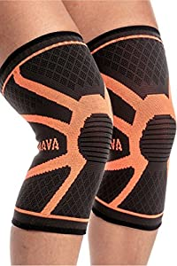 Mava Sports Knee Compression Sleeve Support (Orange, Large)