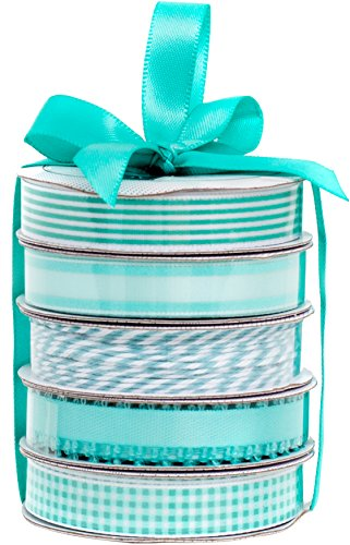 American Crafts Spring Teal Premium Ribbon & Twine 5-Packs]()