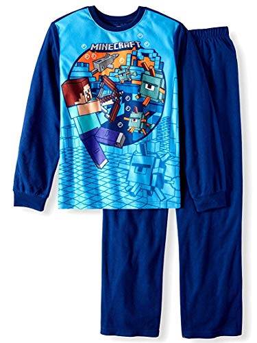 Minecraft Boy's 2-Piece Pajama Set (Medium 8, Blue)]()
