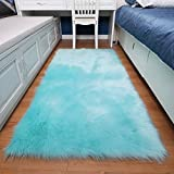 HUAHOO Faux Fur Sheepskin Rug Tiffany Blue Kids Carpet Soft Faux Sheepskin Chair Cover Home Décor Accent for a Kid's Room,Childrens Bedroom, Nursery, Living Room or Bath. 2' x 6' Rectangle