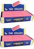 Sargent Art 36-1012 36 Count Eraser Best Buy Pack, Pink (2 pack, total 72)