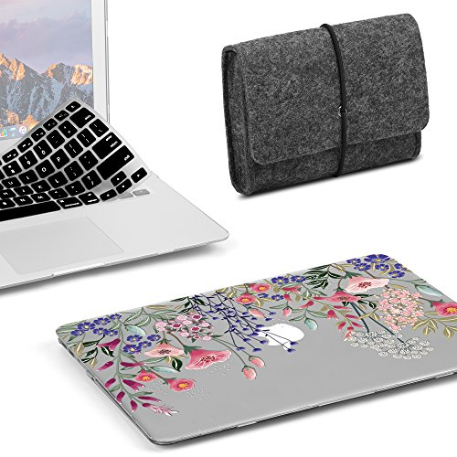 (GMYLE MacBook Air 13 Inch Case A1466 A1369 Old Version 2008-2017 3 in 1 Bundle, Plastic Hard Shell, Felt Storage Bag Travel Pouch for Accessories, Keyboard Cover Set - Pink Plum Blossom Floral Garden)
