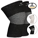 Smalets Brace Compression Knee Support Sleeves (1 Pair) -Powerful Joint Protection for Cross Training, Weightlifting, Running & More Black, L