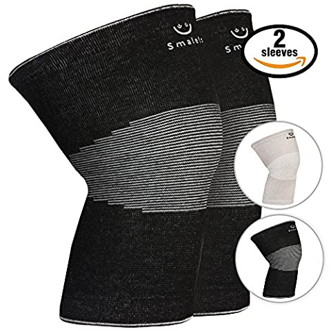 Smalets Brace Compression Knee Support Sleeves (1 Pair) –Powerful Joint Protection for Cross Training, Weightlifting, Running & More Black, M