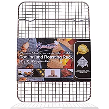 KITCHENATICS 100% Stainless Steel Wire Cooling and Roasting Rack Fits Small Quarter Sheet Size Baking Pan, Oven Safe, Commercial Quality, Heavy Duty for Cooking, Roasting, Drying, Grilling 8.5