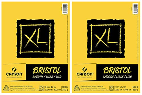 2-Pack - Canson XL Series Bristol Pad, Heavyweight Paper for Ink, Marker or Pencil, Smooth Finish, Fold Over, 100 Pound, 9 x 12 inch, Bright White, 25 Sheets by Canson (Image #1)