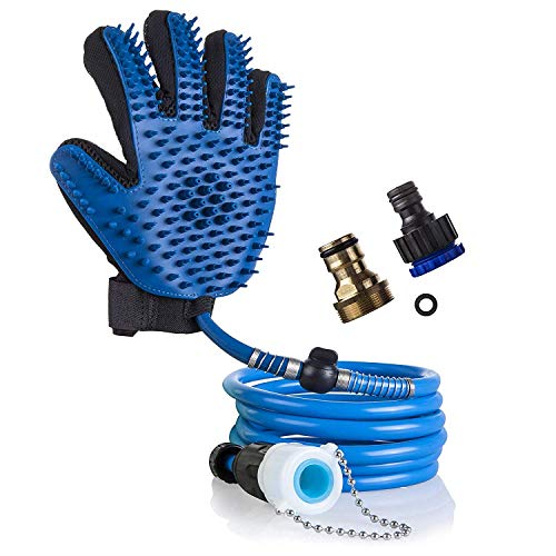 Mitsoku Dog Shower Sprayer Bath Glove, Pet Hair Remover,Pet Bathing Tool Compatible with Shower Bath Tub and Outdoor…