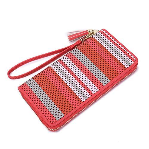 Women Wristlet Wallet tassel ladies Clutch long purse card cash Phone Holder Designer woven Leather zipper wallet with Wrist Strap zipper around large