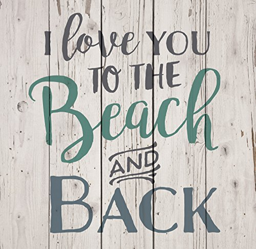 I Love You To The Beach & Back White Wash 18 x 17 Inch Solid Pine Wood Pallet Wall Sign Plaque For Sale
