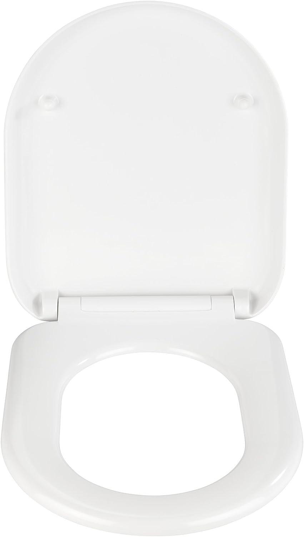 Toiletten-Sitz mit Absenkautomatik wei/ß WENKO 22383100 Premium WC-Sitz Santana rostfreie Fix-Clip Hygiene Edelstahlbefestigung 37 x 44 cm