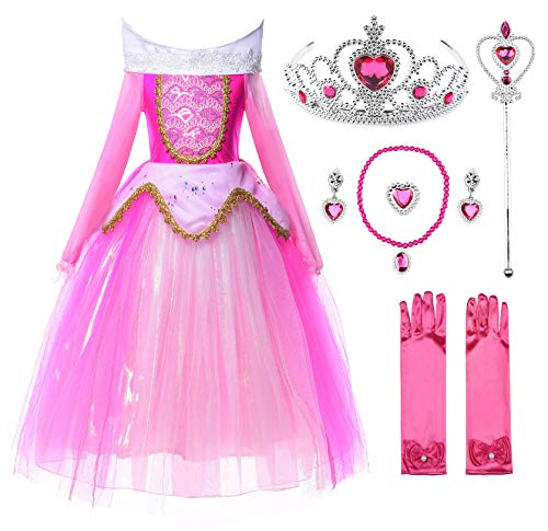 JerrisApparel New Princess Aurora Costume Girls Party Dress (6, Pink with Accessories) from JerrisApparel