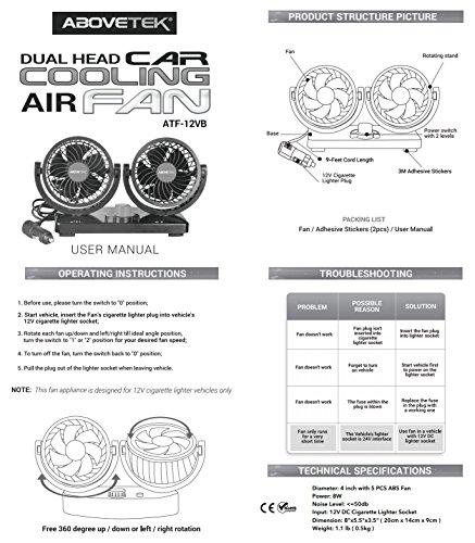 Abovetek 12v Dc Electric Car Fan Rotatable 2 Speed Dual