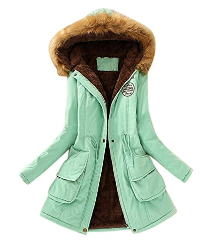 Aro Lora Women's Winter Warm Faux Fur Hooded Cotton-Padded Coat Parka Long Jacket US 12 Pea Green by Aro Lora (Image #4)
