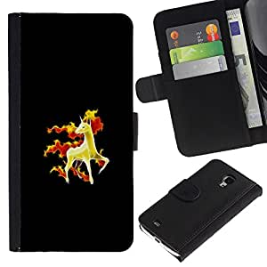 YiPhone /// Tirón de la caja Cartera de cuero con ranuras para tarjetas - Rapidash P0kemon - Samsung Galaxy S4 Mini i9190