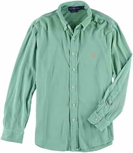 8fb6feca Polo Ralph Lauren Mens Featherweight Mesh Buttondown Shirt (L, Dusted Ivy)