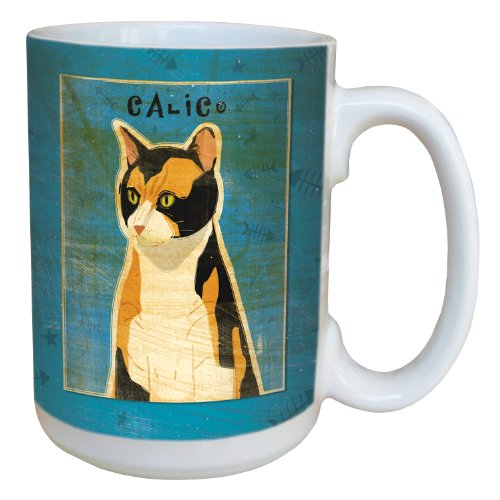 (Tree-Free Greetings sg44002 Calico Cat by John W. Golden Ceramic Mug with Full-Sized Handle,)