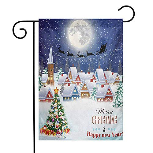 Mannwarehouse Christmas Garden Flag Moon Santa Claus Reindeer Hovering in Winter Sky of a Small Village Illustration Premium Material W12 x L18 Navy White