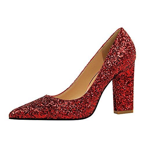 Tacones Mujer Moda Zapatos Apuntado Tacón Finos Zapatos Mujer Rojo Elegante Boda Alto Fiesta De 55nrqxA