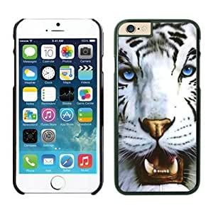 Iphone 6 Case 4.7 Inches, Cool White Tiger and Blue Eyes Animal Designer Black Cell Phone Protective Cover Case for Apple Iphone 6