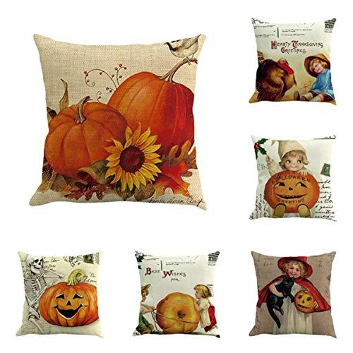 KESEELY 6PC Halloween Pillow Case Lumbar Pillow Cushion Home Car Bed Sofa Decorative Letter Cushion Cover -