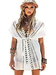 Yonala Womens White Lace Crochet Drawsting Waist Cover Up Swimwear Beach Dress Bc White One Size