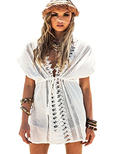 Women Summer Crochet Beachwear White - 5