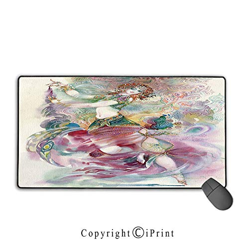 Extended Mousepad with Durable Stitched Edges,Watercolor,Oriental Dance Theme Young Girl Performing in Traditional Costume Fantasy Figure,Multicolor,Ideal for Desk Cover, Computer Keyboard, PC and Lap -