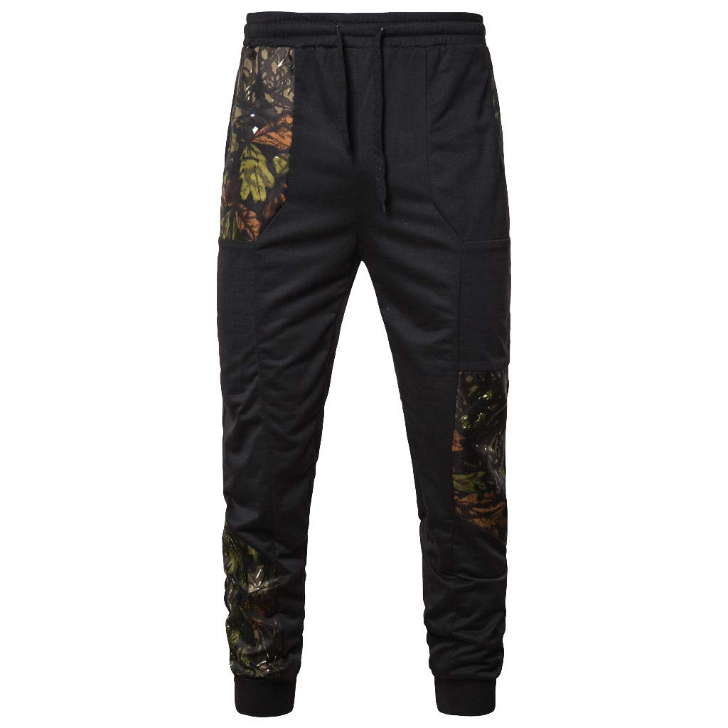 MOSERIAN Fashion Men's Casual Sports Elastic Belt Pants Printing Sweat Trouser Top Pants Black