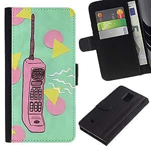WonderWall Fondo De Pantalla Imagen Diseño Cuero Voltear Ranura Tarjeta Funda Carcasa Cover Skin Case Tapa Para Samsung Galaxy Note 4 SM-N910 - polígono retro rosa verde teléfono de la vendimia