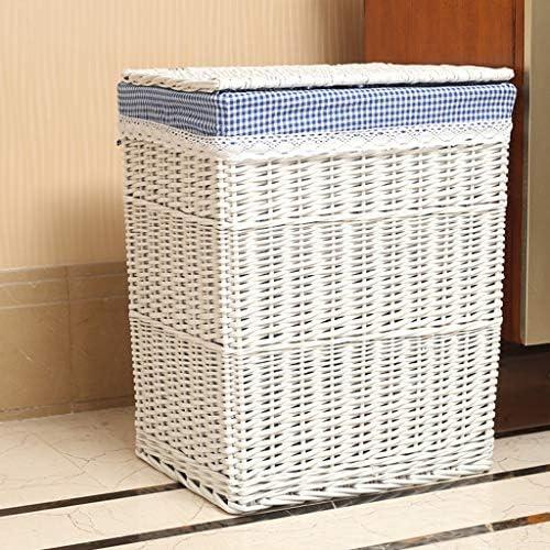 KKY-ENTER Rotin Panier À Linge Ménage Coton Toile De Jute Doublure Poubelle Sale Vêtements Divers Panier De Rangement Intérieur Blanc Coffre à Linge (taille : 38 * 28 * 46cm)