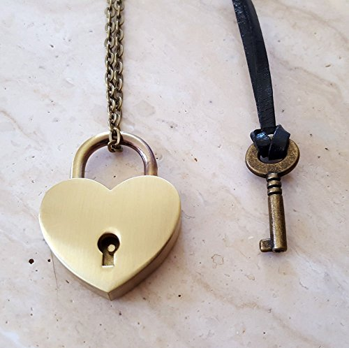 (Bronze Heart Lock and Key Couples Necklace, Jewelry Set)