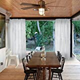 Macochico Privacy Protection Dustproof Home Decoration Rod Pocket Sheer Panels Window Treatment White Outdoor Indoor Semi Voile Curtains for Patio Gazebo Pergola Living Room 52Wx 84L (1 Panel)