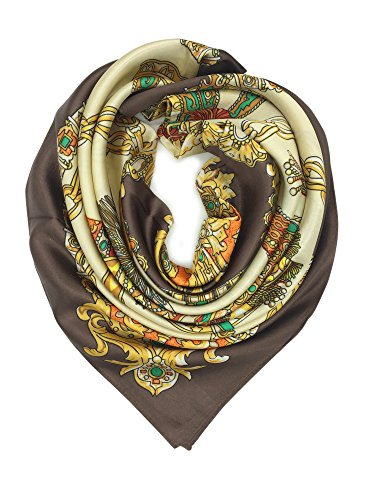 YOUR SMILE Silk Like Scarf Women's Fashion Pattern Large Square Satin Headscarf Brown Carriage